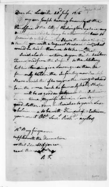 Richard Taylor to James Madison, July 23, 1816.
