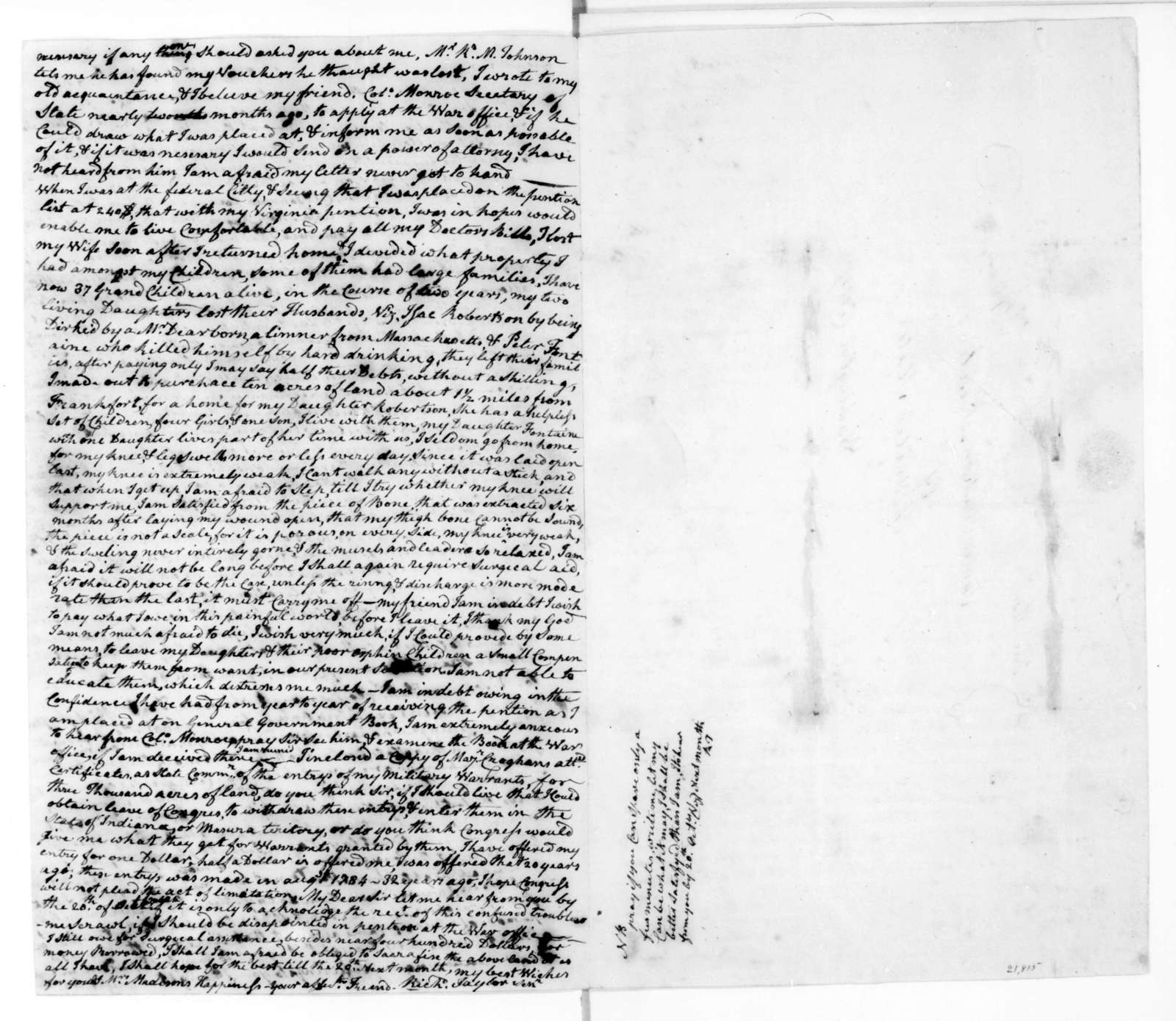 Richard Taylor to James Madison, September 26, 1816.