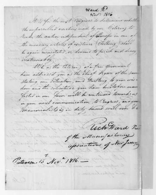 Richard Ward to James Madison, November 15, 1816. From the Manufacturing Association of New Jersey.