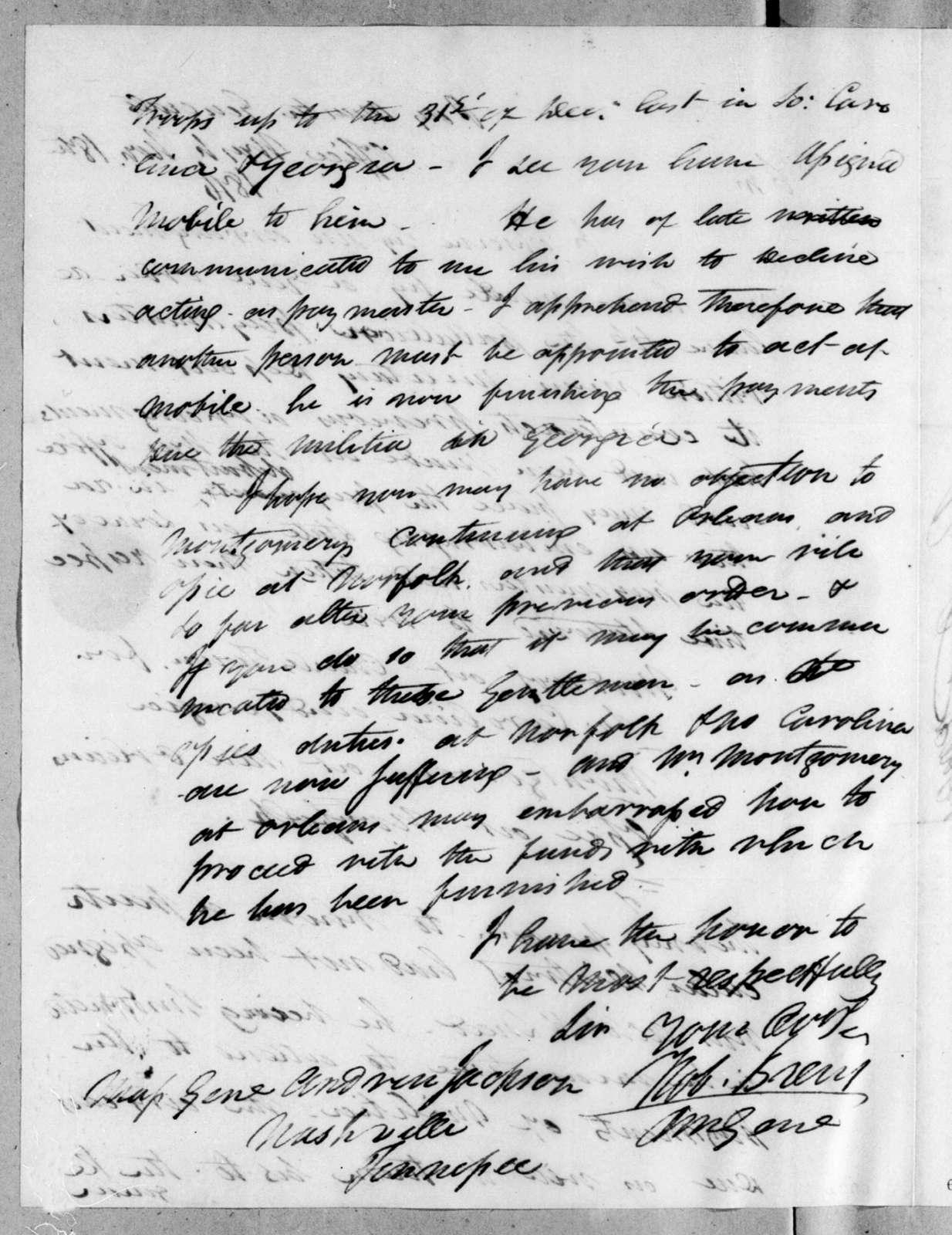 Robert Brent to Andrew Jackson, November 18, 1816