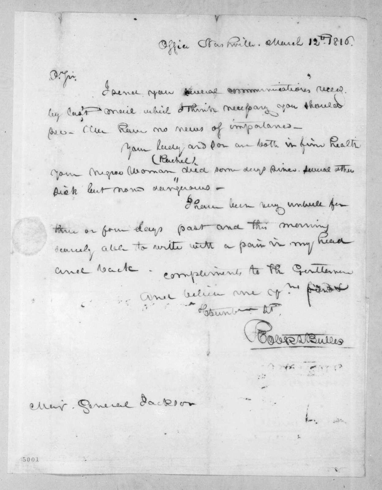Robert Butler to Andrew Jackson, March 12, 1816