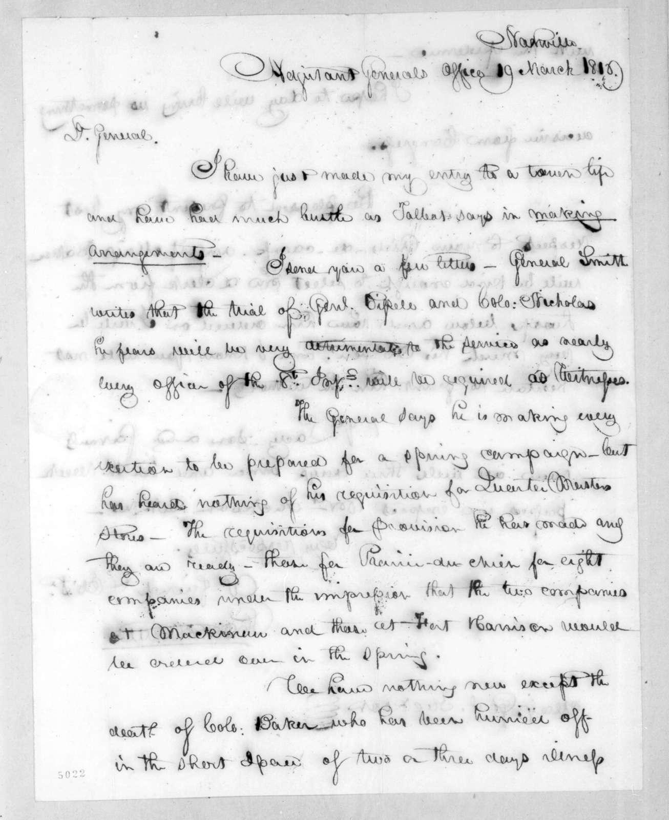 Robert Butler to Andrew Jackson, March 19, 1816