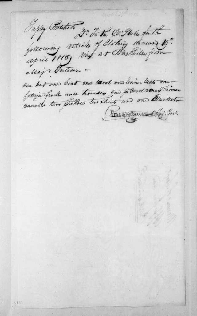 Robert Butler to T. Pritchett, April 19, 1816