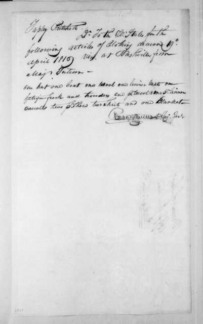 Robert Butler to T. Pritchett, April 19, 1816