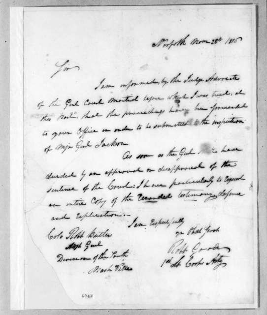 Robert Goode to Robert Butler, November 28, 1816