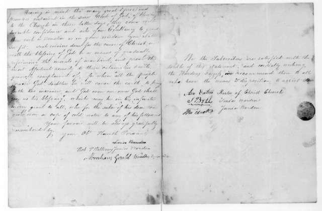 Robert Williams Jr. to James Madison, August 14, 1816. Warden of St. Matthews Episcopal Church of Boston.