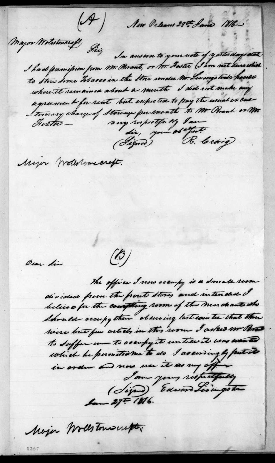 Rowland Craig to Charles Wollstonecraft, June 28, 1816