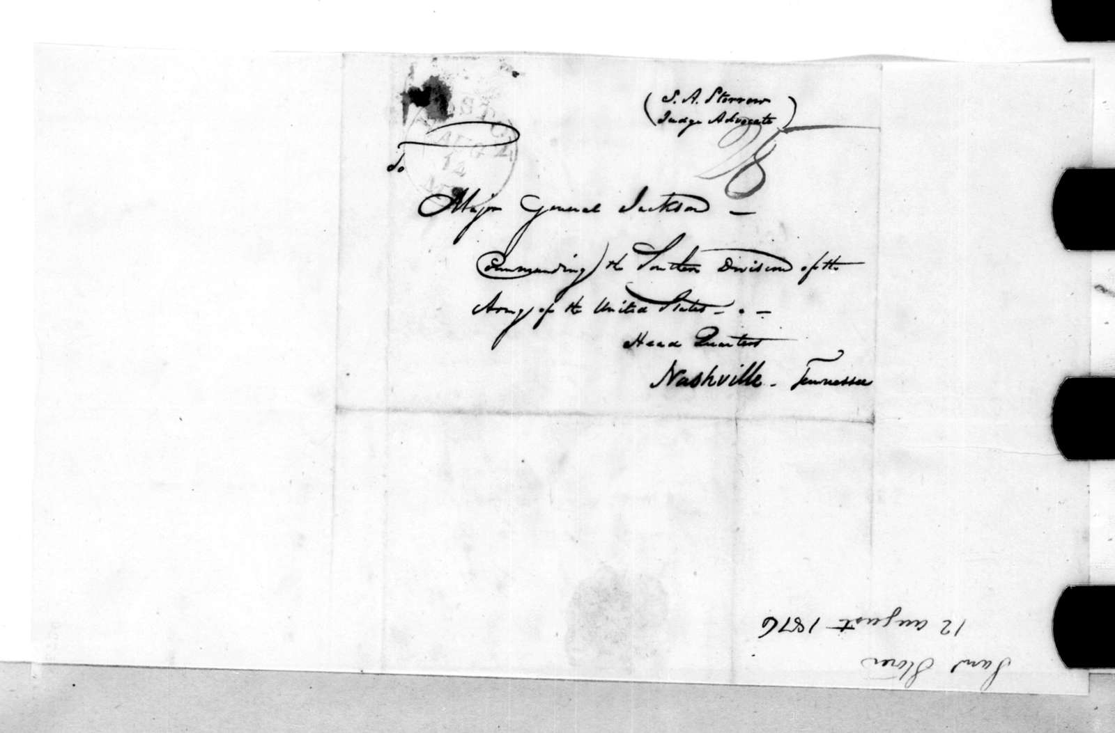 Samuel A. Storrow to Andrew Jackson, August 12, 1816