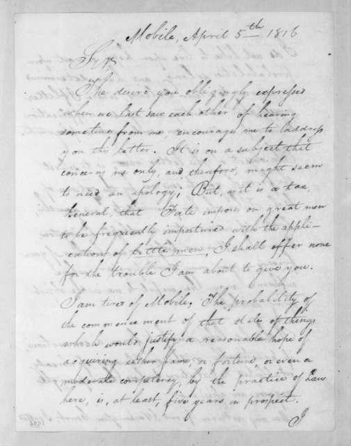 Samuel Acre to Andrew Jackson, April 5, 1816