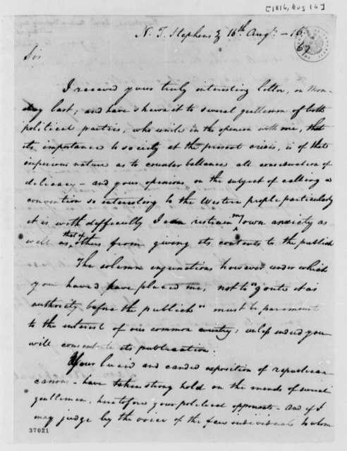 Samuel Kercheval to Thomas Jefferson, August 16, 1816