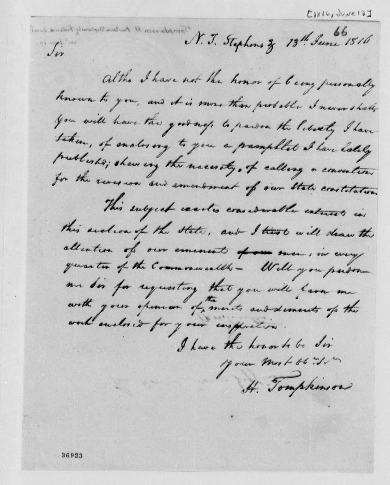 Samuel Kercheval to Thomas Jefferson, June 13, 1816