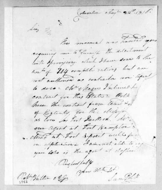 Samuel Polk to Robert Butler, August 22, 1816