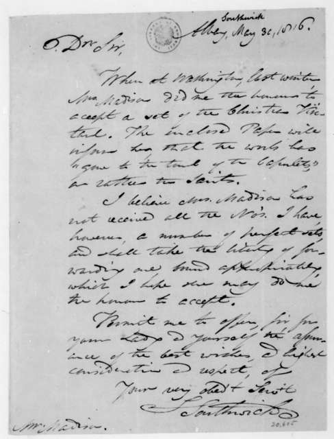 Samuel Southwick to James Madison, May 30, 1816.