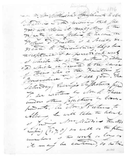 Solomon Southwick to Dolley Payne Madison, January, 1816.
