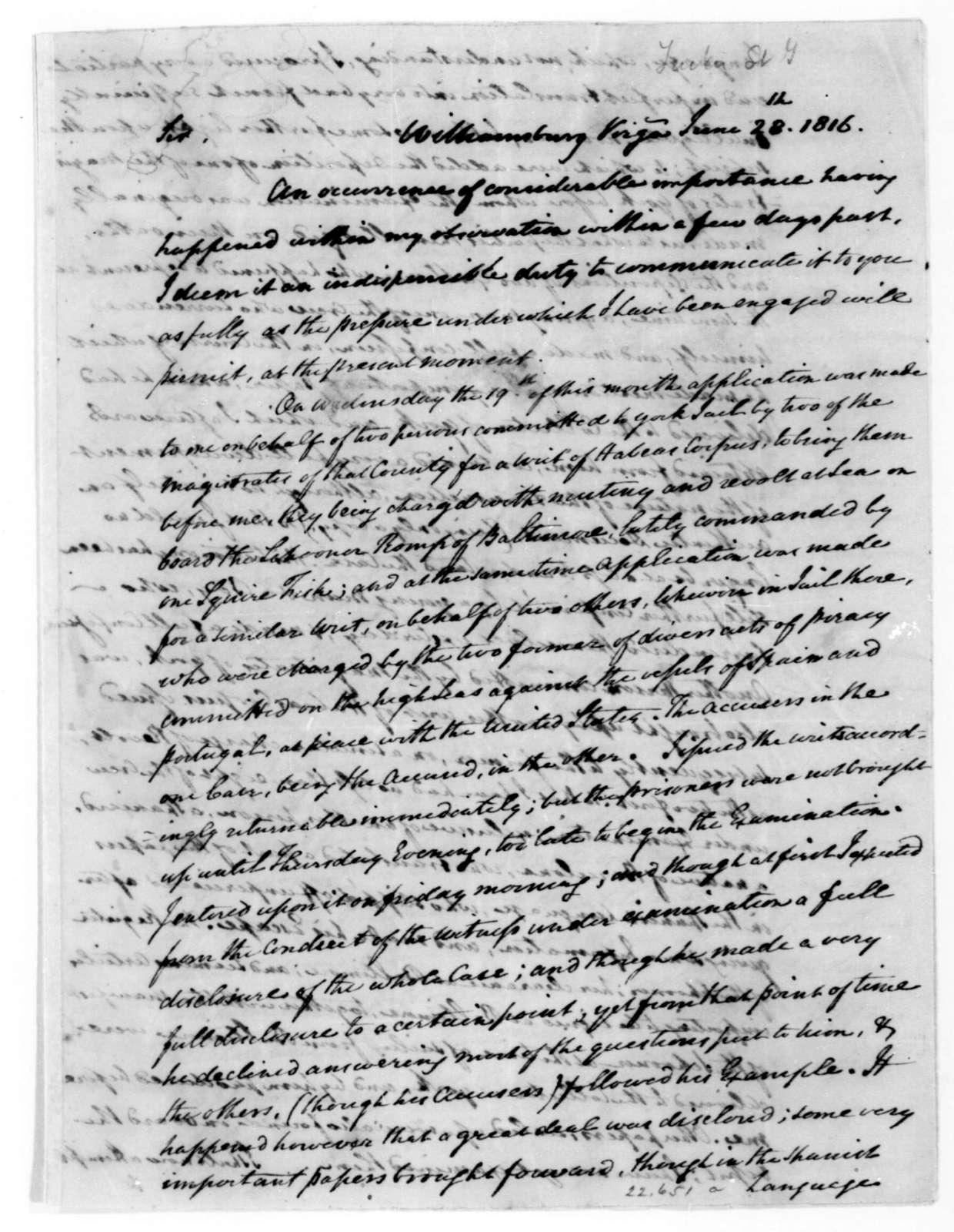 St. George Tucker to James Madison, June 28, 1816.