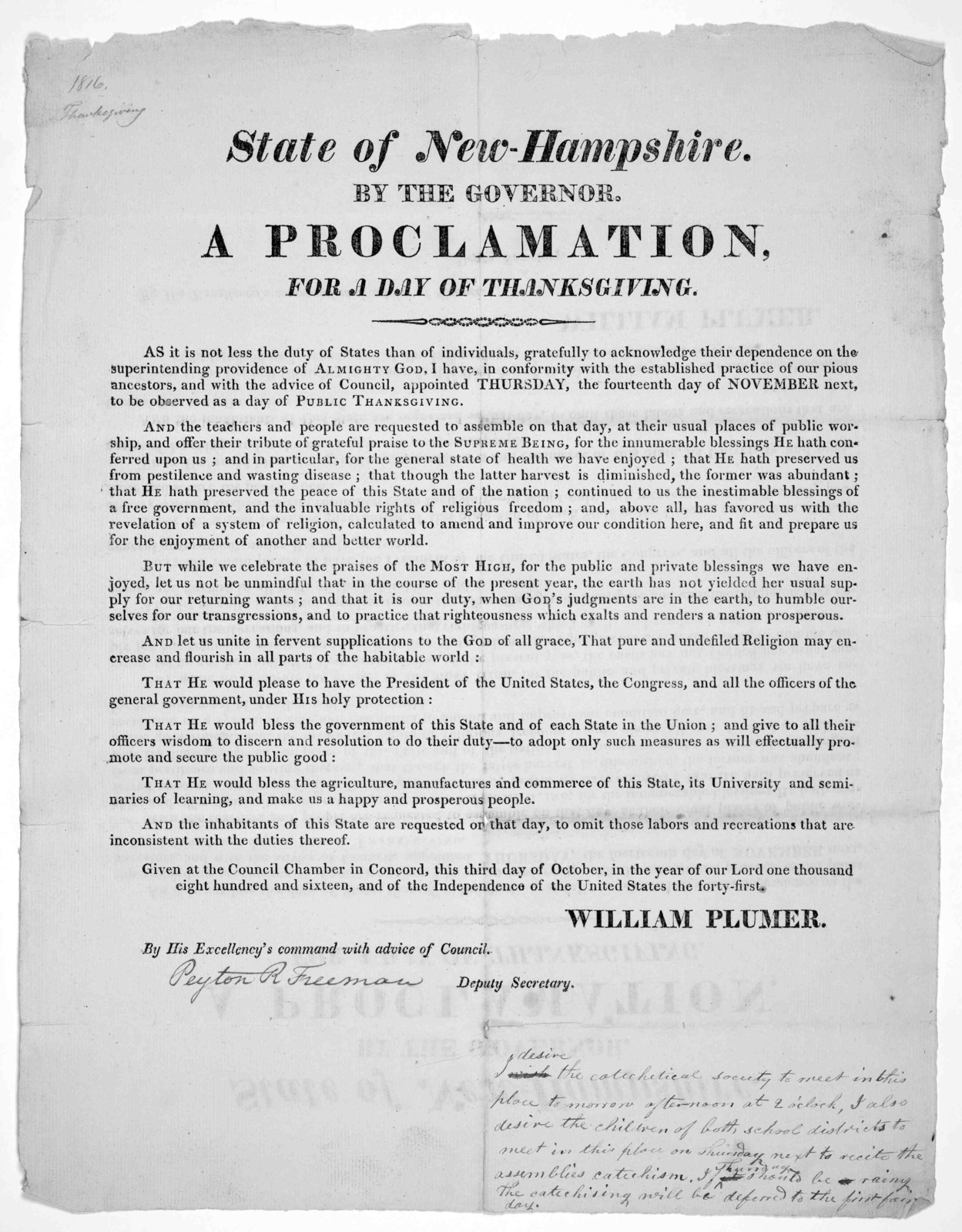 State of New-Hampshire. By the Governor. A proclamation for a day of thanksgiving ... appointed Thursday, the fourteenth day of November next, to be observed as a day of public thanksgiving ... Given at the Council Chamber in Concord, this third