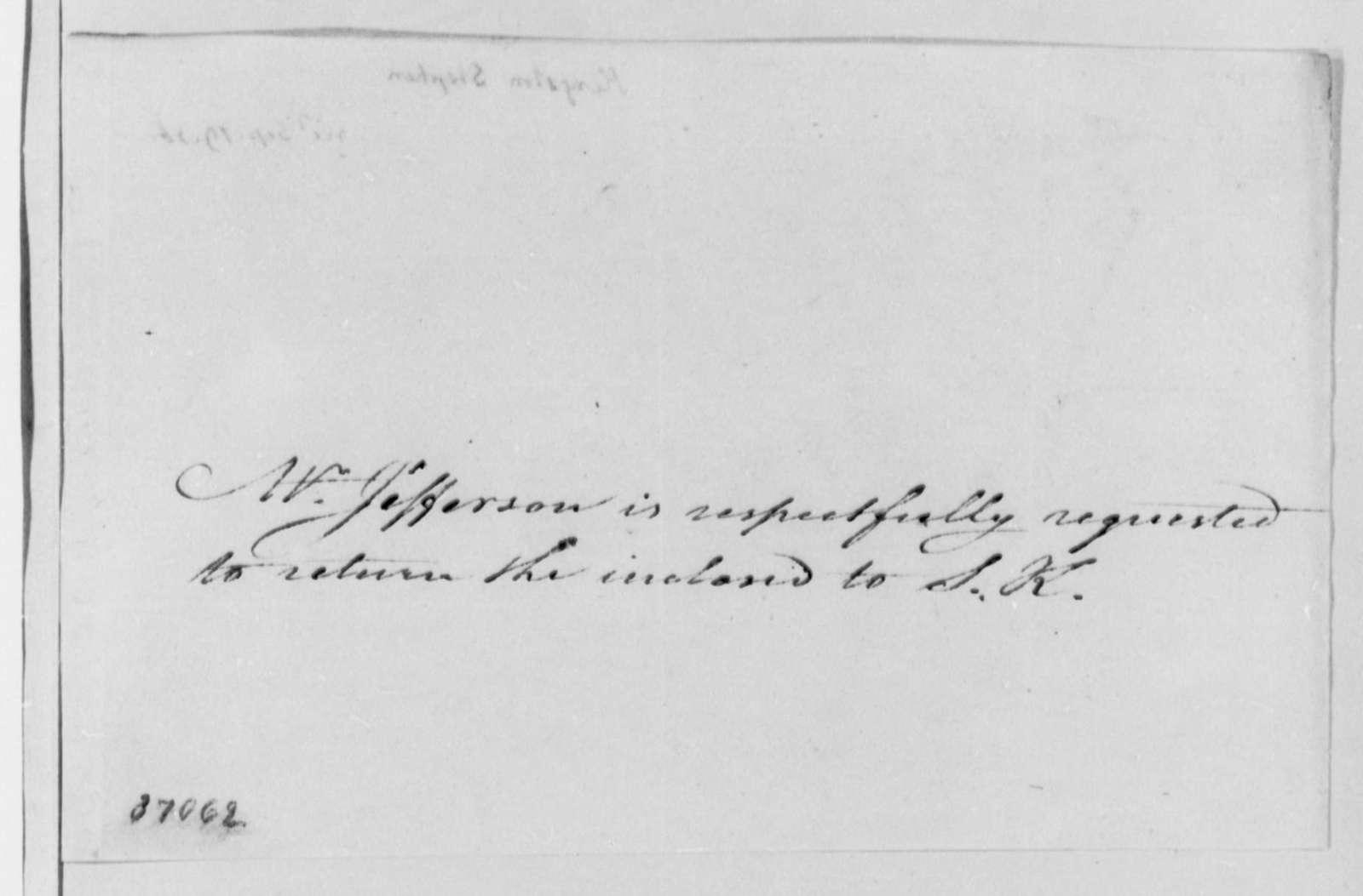 Stephen Kingston to Thomas Jefferson, September 12, 1816