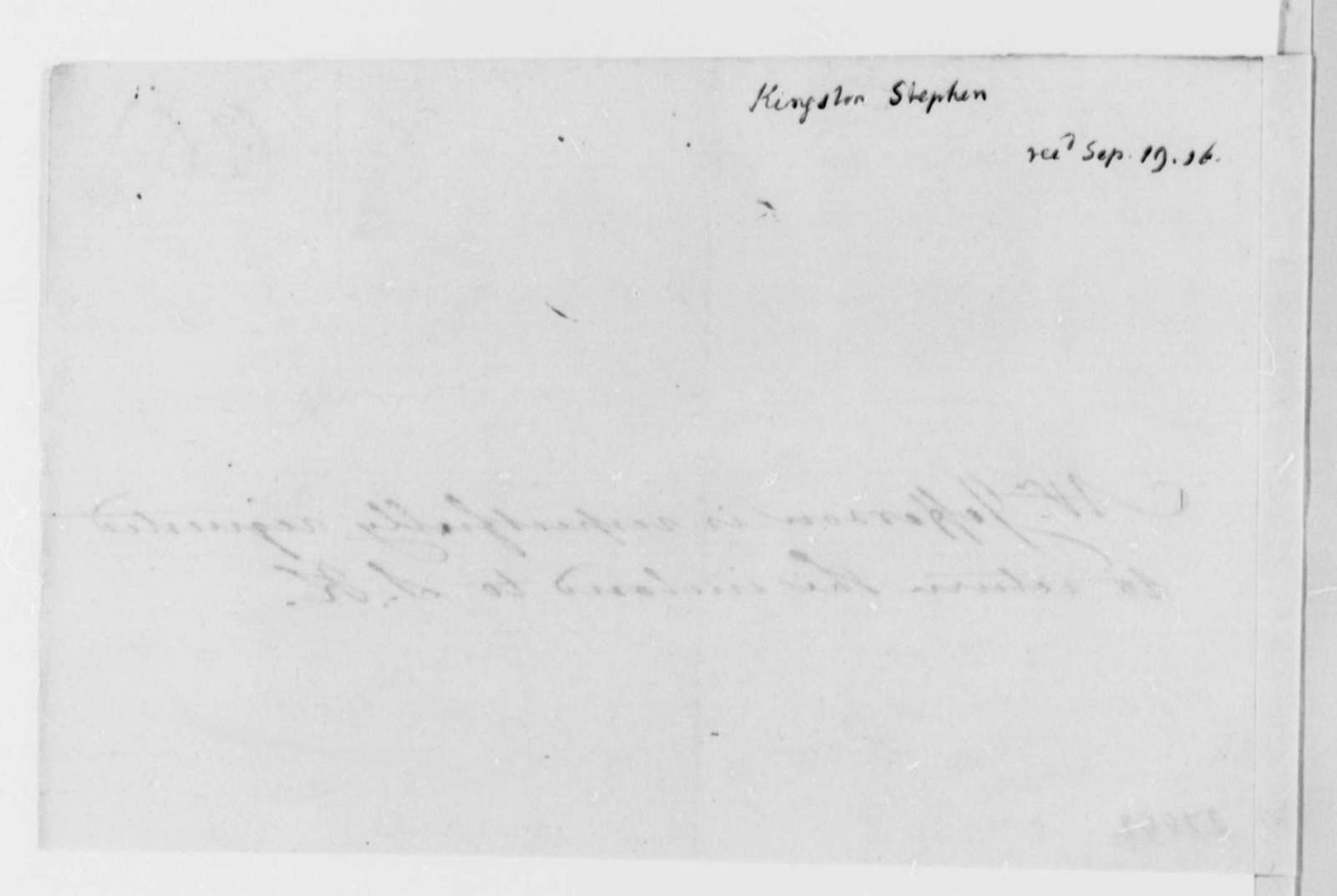 Stephen Kingston to Thomas Jefferson, September 12, 1816