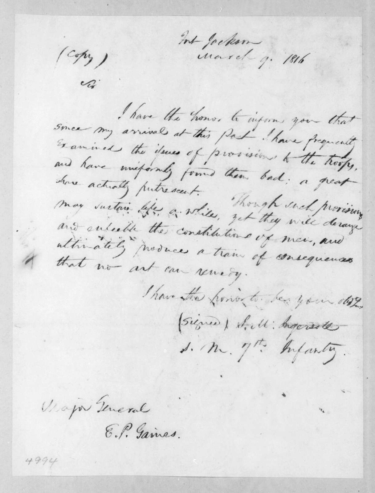 Stephen M. Ingersoll to Edmund Pendleton Gaines, March 9, 1816