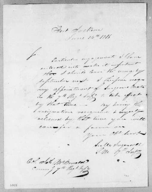 Stephen M. Ingersoll to James McDonald, June 14, 1816