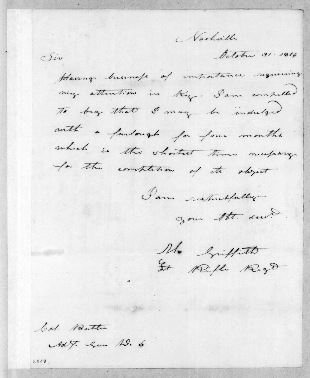 T. Griffith to Robert Butler, October 31, 1816