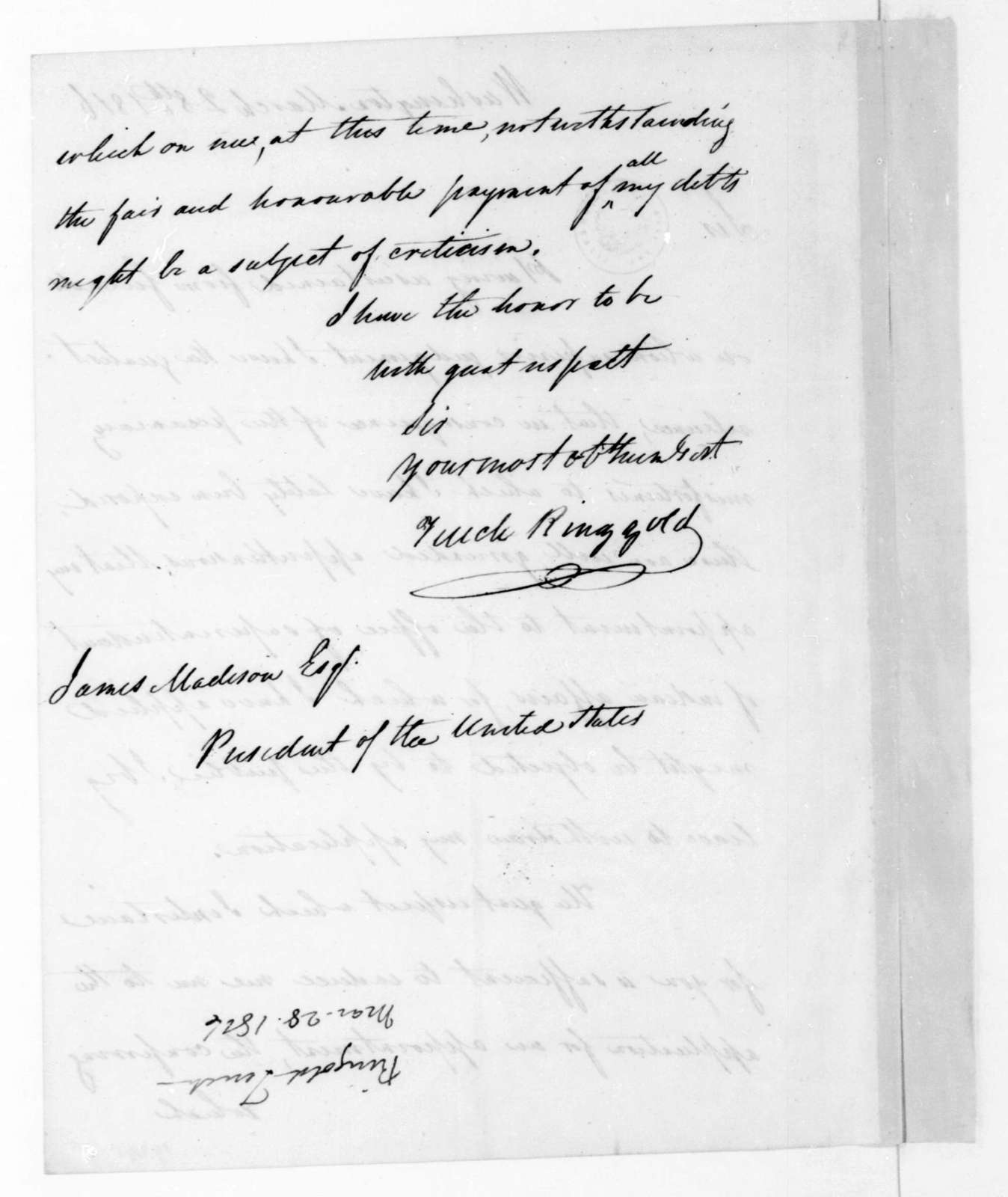 Tench Ringgold to James Madison, March 28, 1816.