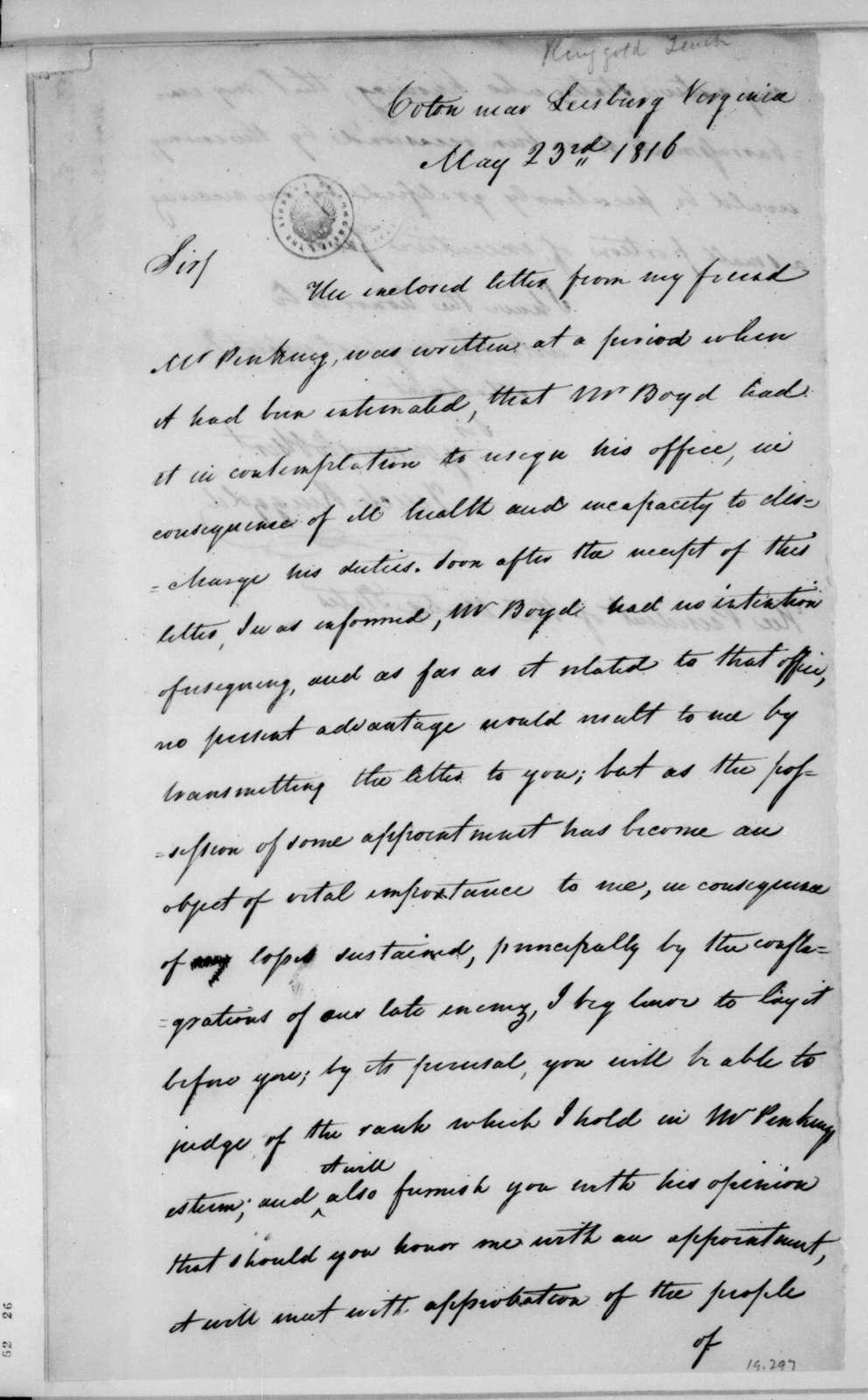Tench Ringgold to James Madison, May 23, 1816.