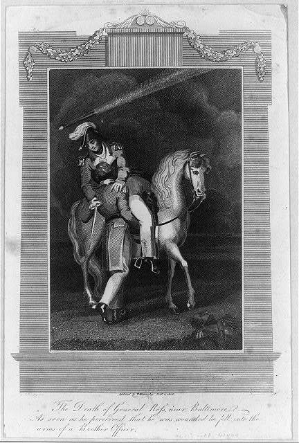 The death of General Ross, near Baltimore, as soon as he perceived that he was wounded he fell into the arms of a brother officer / G.M. Brighty del. ; Brown sculp.