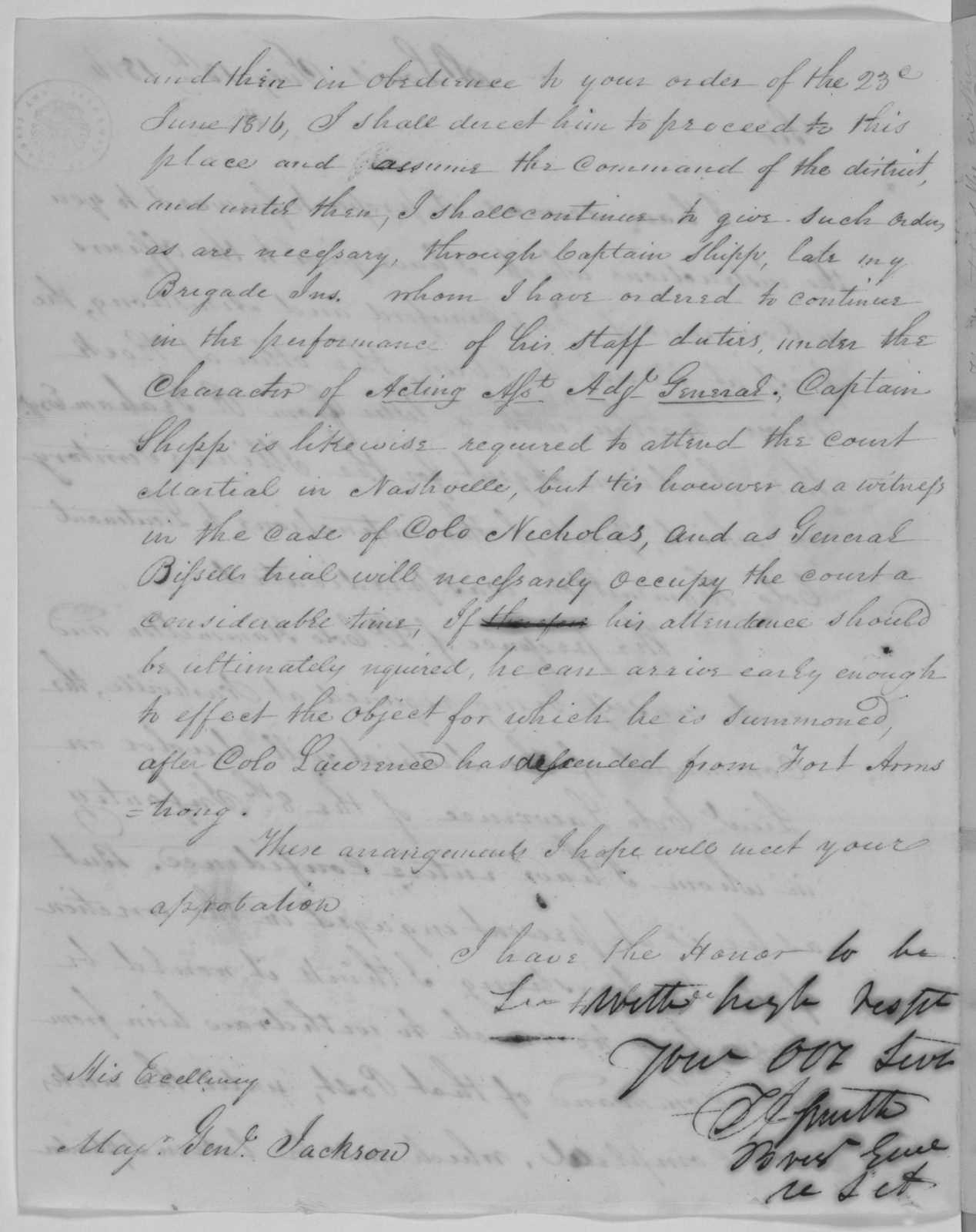 Thomas Adams Smith to Andrew Jackson, July 13, 1816