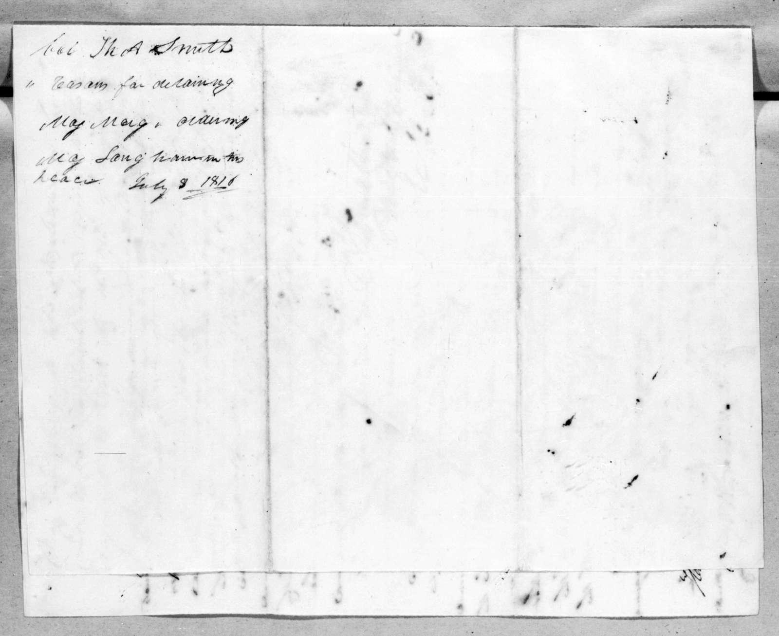 Thomas Adams Smith to Andrew Jackson, July 8, 1816
