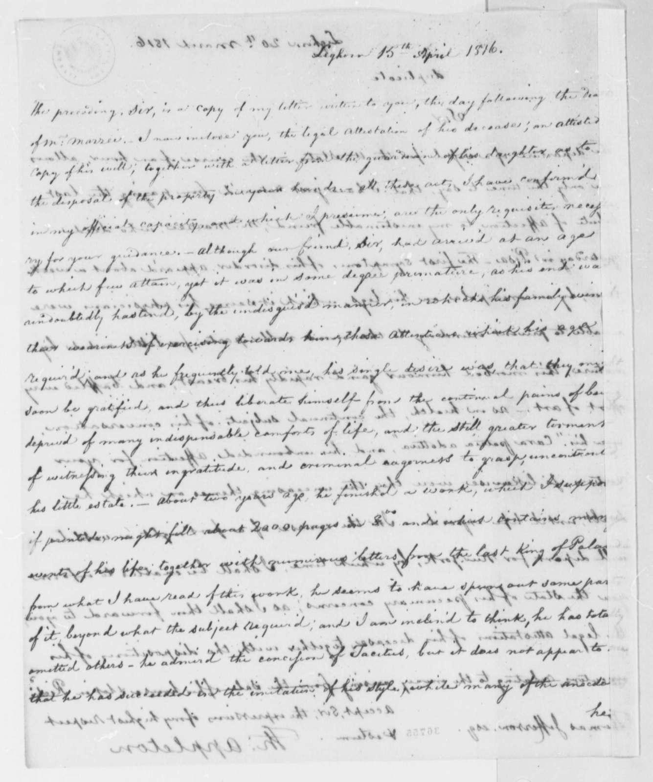 Thomas Appleton to Thomas Jefferson, April 15, 1816