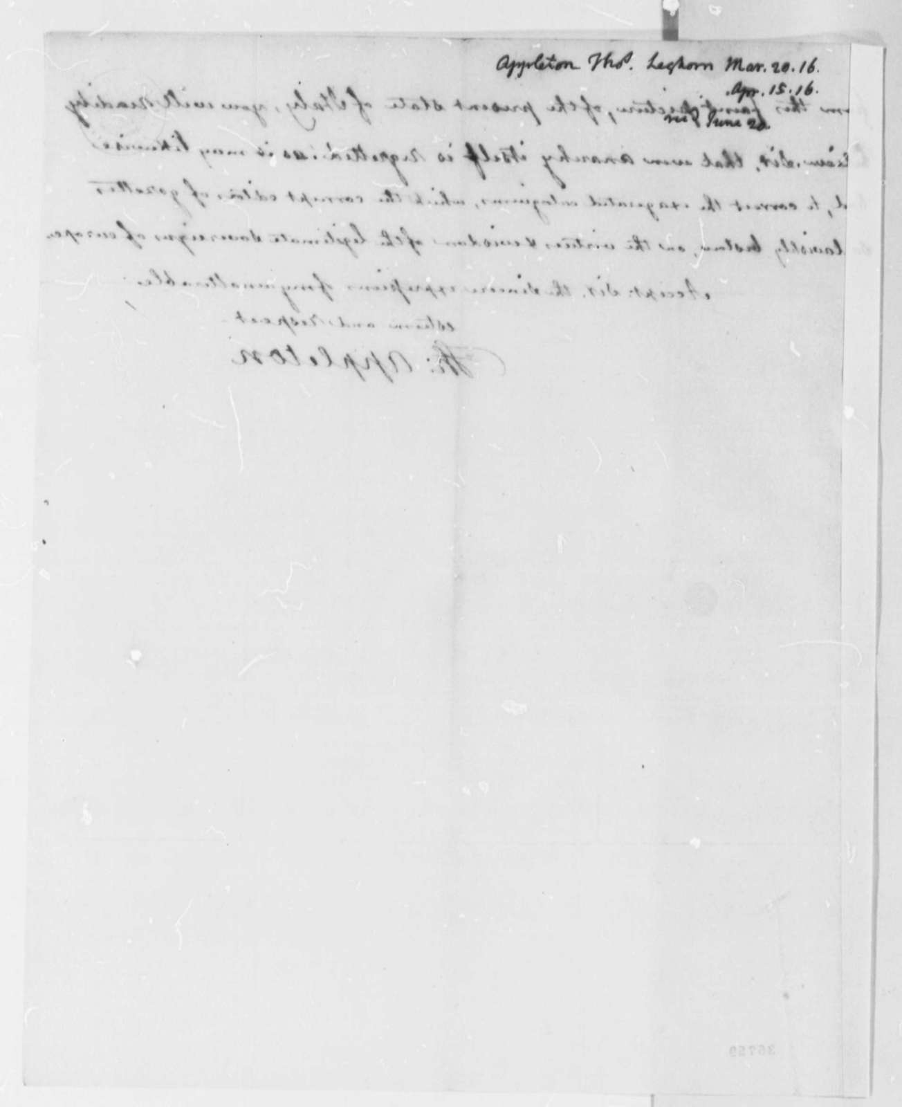 Thomas Appleton to Thomas Jefferson, April 15, 1816
