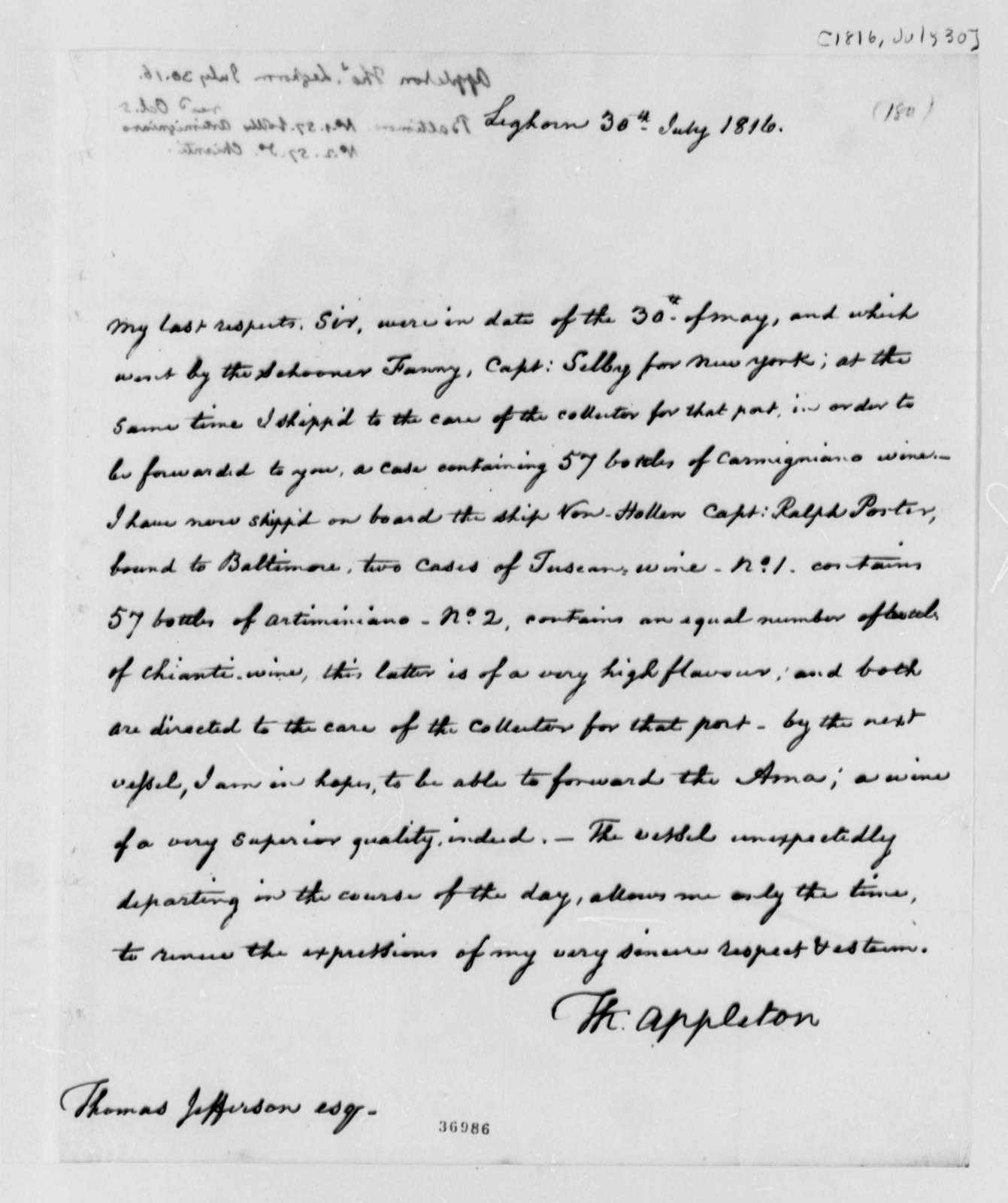 Thomas Appleton to Thomas Jefferson, July 30, 1816