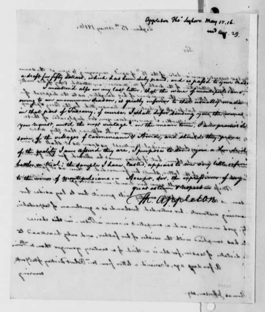 Thomas Appleton to Thomas Jefferson, May 15, 1816