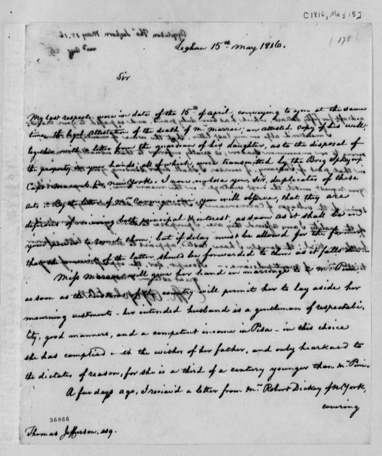 Thomas Appleton to Thomas Jefferson, May 15, 1816