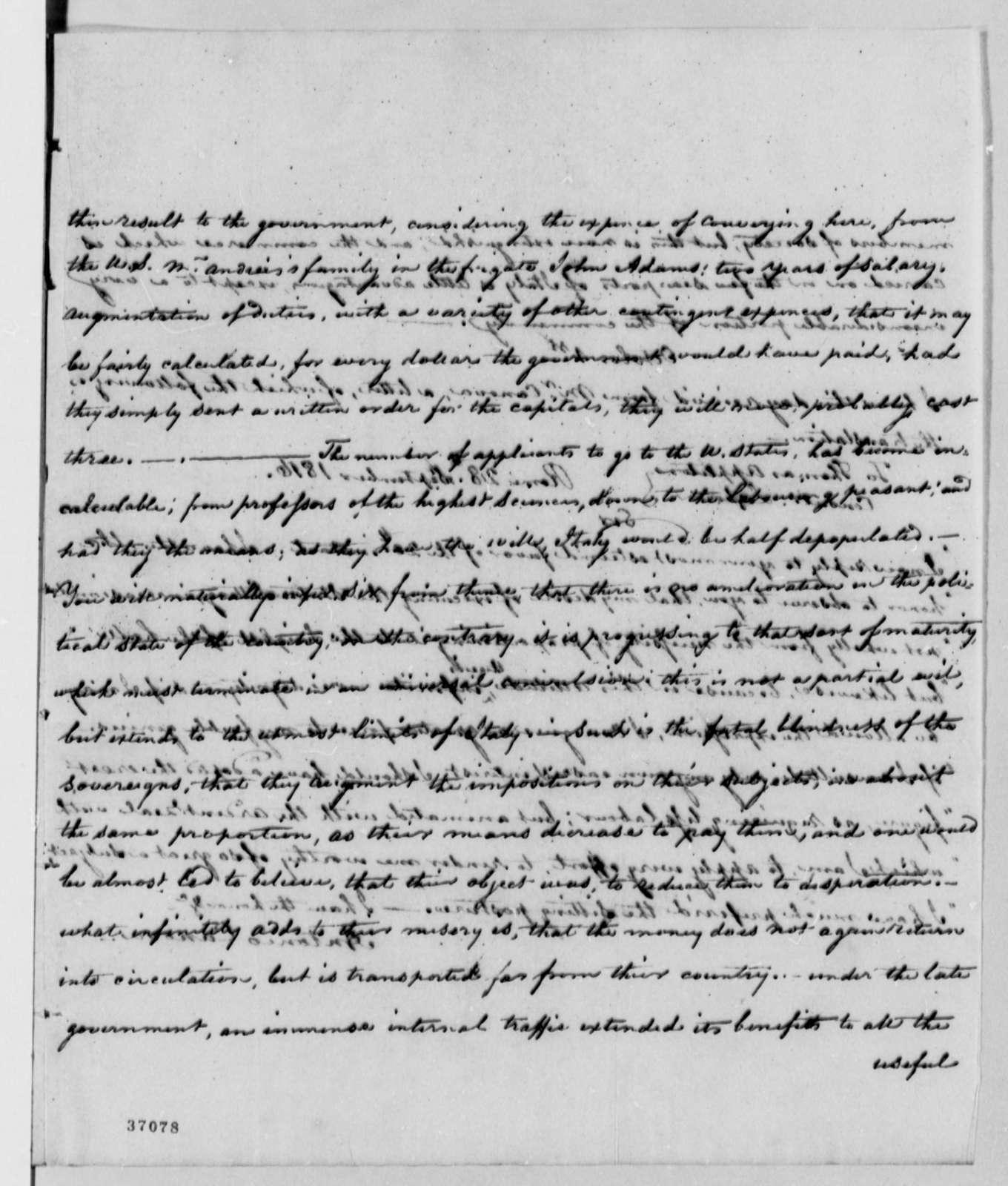 Thomas Appleton to Thomas Jefferson, September 27, 1816