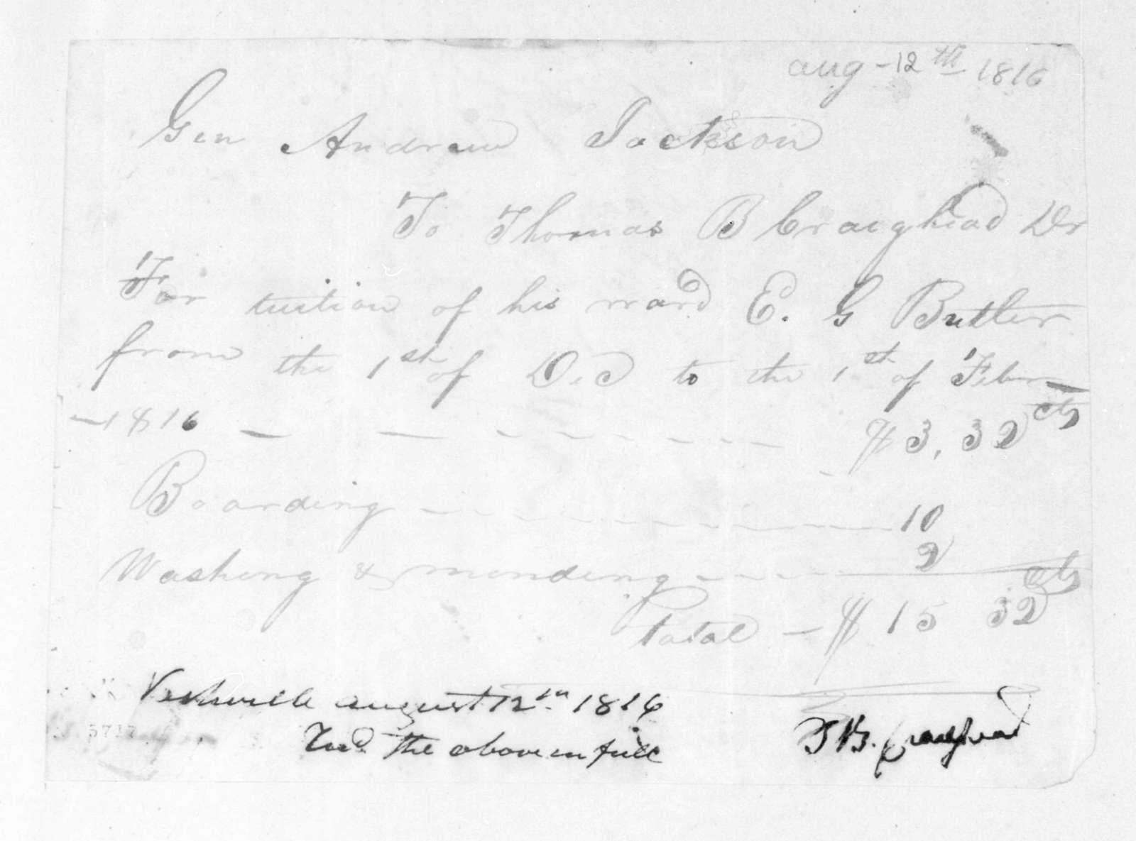 Thomas B. Craighead to Andrew Jackson, August 12, 1816