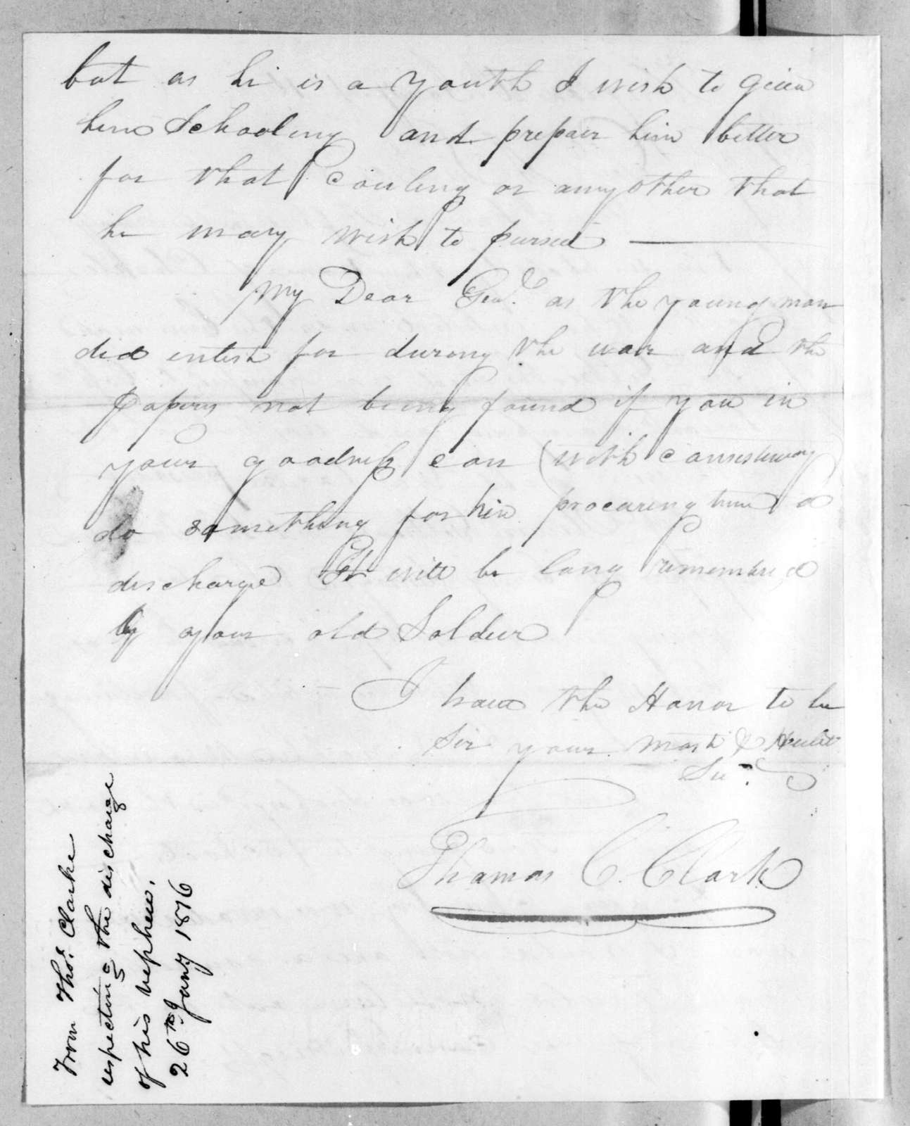 Thomas C. Clark to Andrew Jackson, January 26, 1816