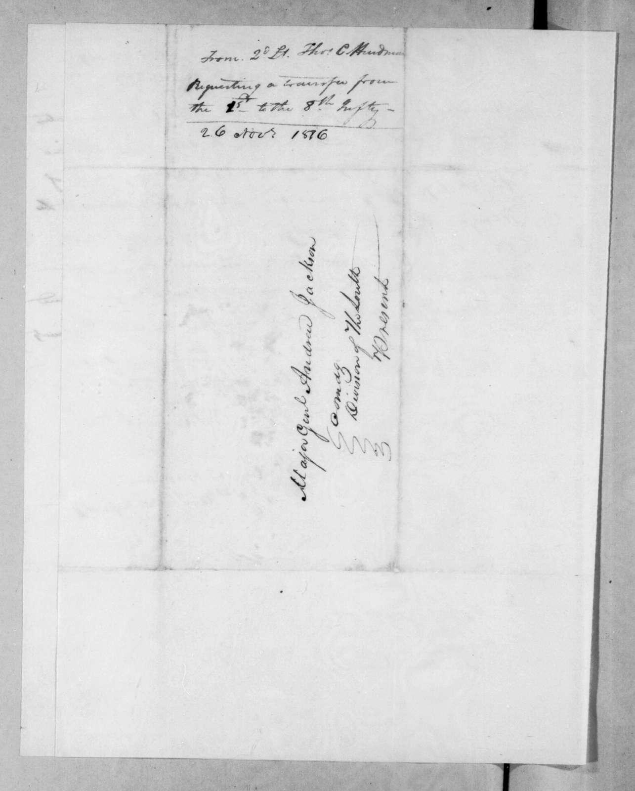 Thomas Carmichael Hindman to Andrew Jackson, March 26, 1816