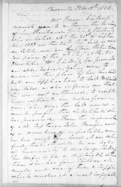 Thomas Emmerson to Andrew Jackson, February 15, 1816