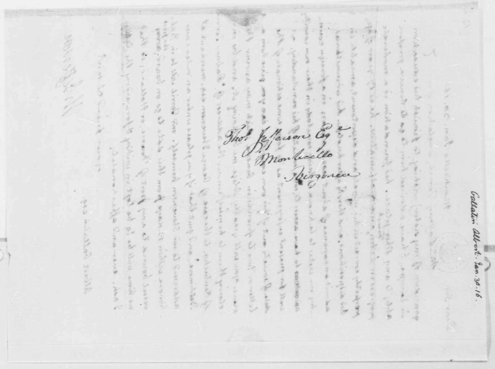Thomas Jefferson to Albert Gallatin, January 30, 1816