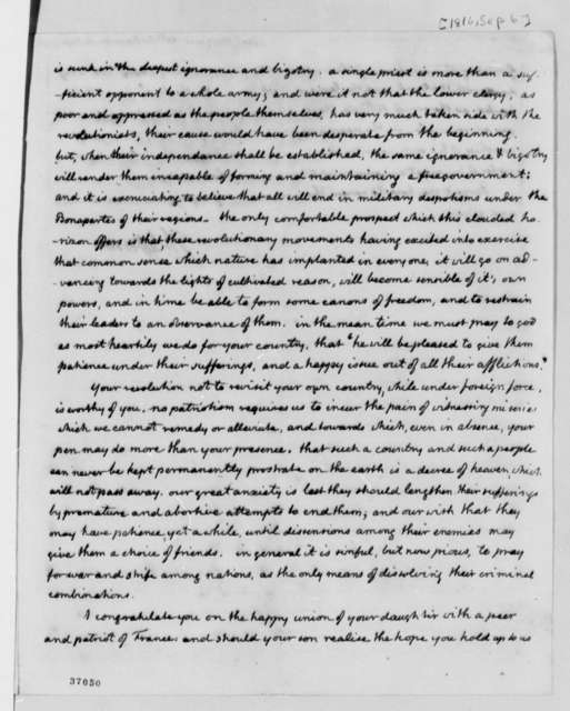 Thomas Jefferson to Anne L. G. N. Stael-Holstein, September 6, 1816, with Map of Americas