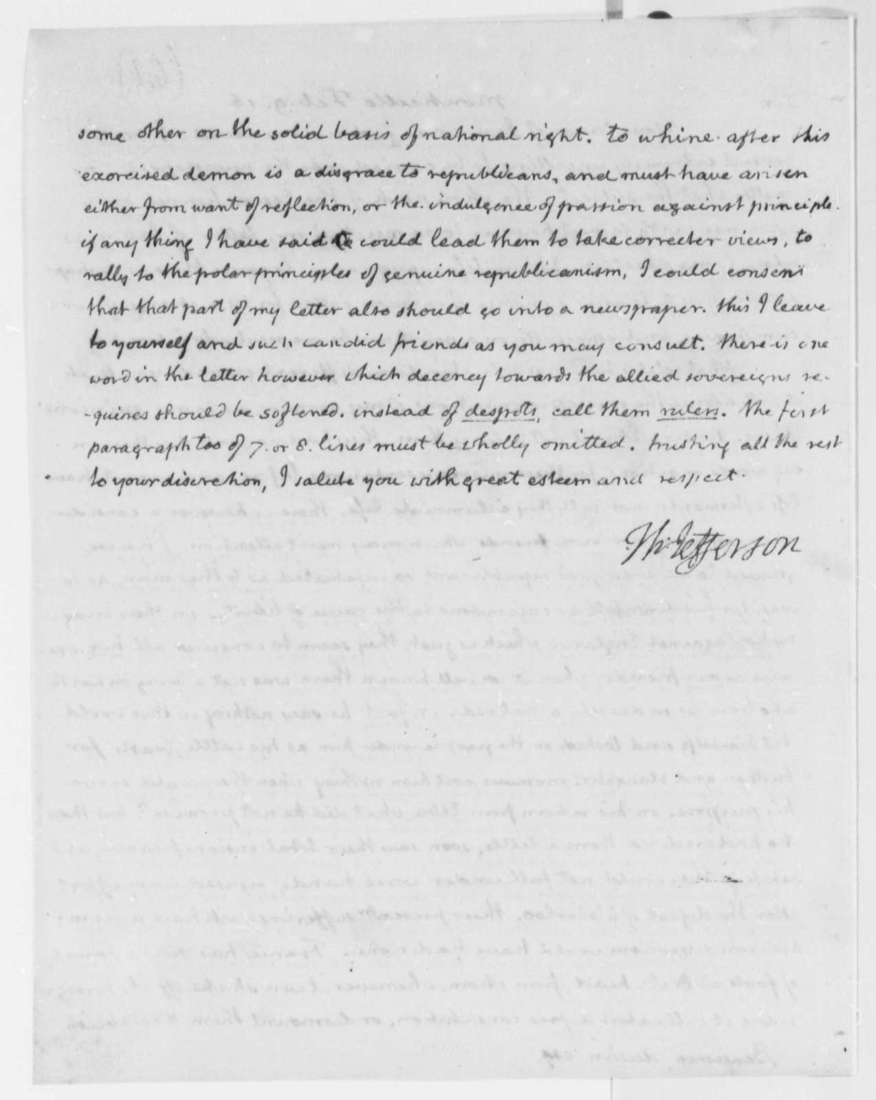 Thomas Jefferson to Benjamin Austin, February 9, 1816