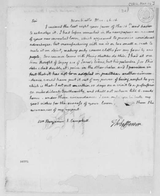 Thomas Jefferson to Benjamin J. Campbell, March 26, 1816