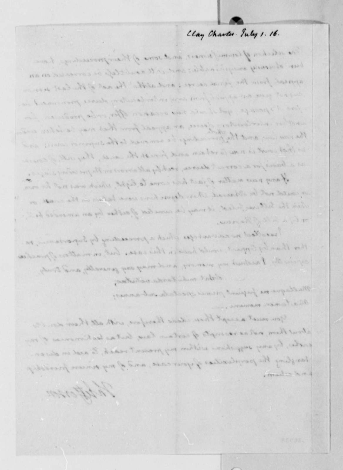 Thomas Jefferson to Charles Clay, July 1, 1816