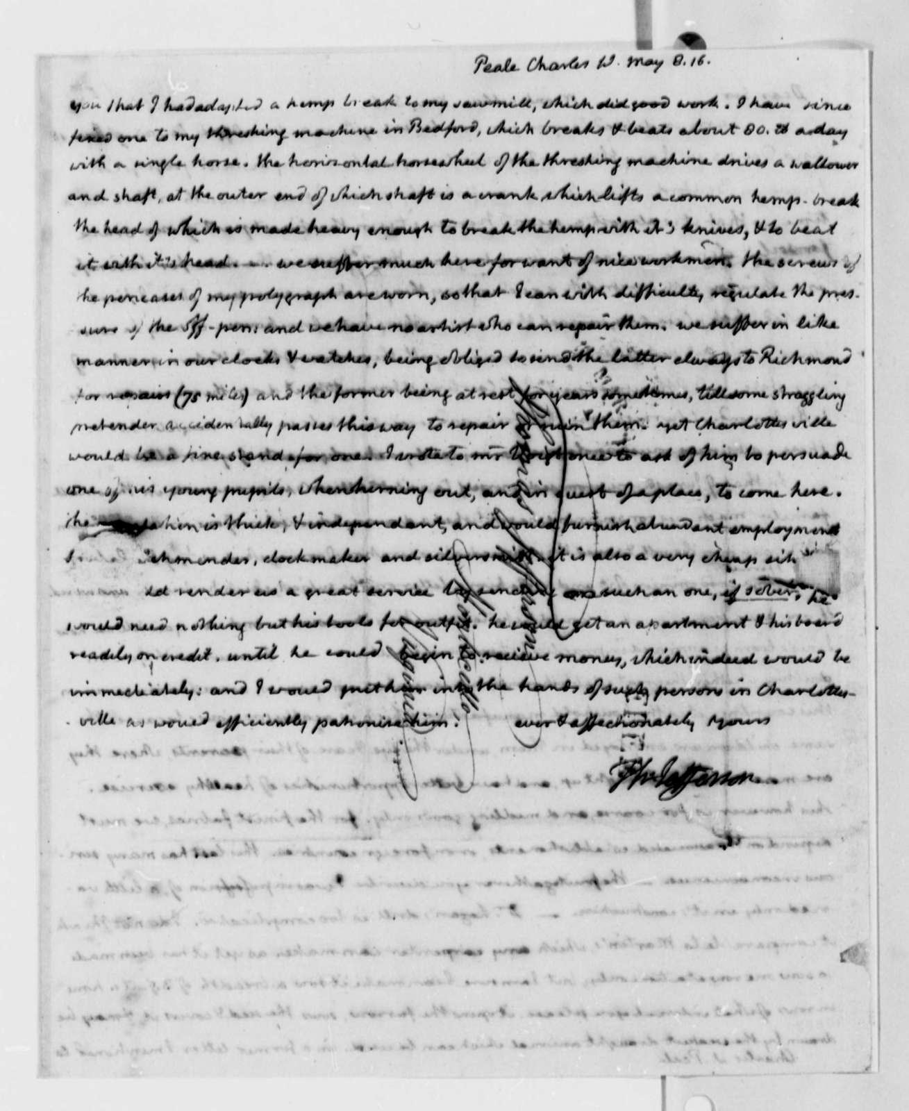 Thomas Jefferson to Charles Willson Peale, May 8, 1816