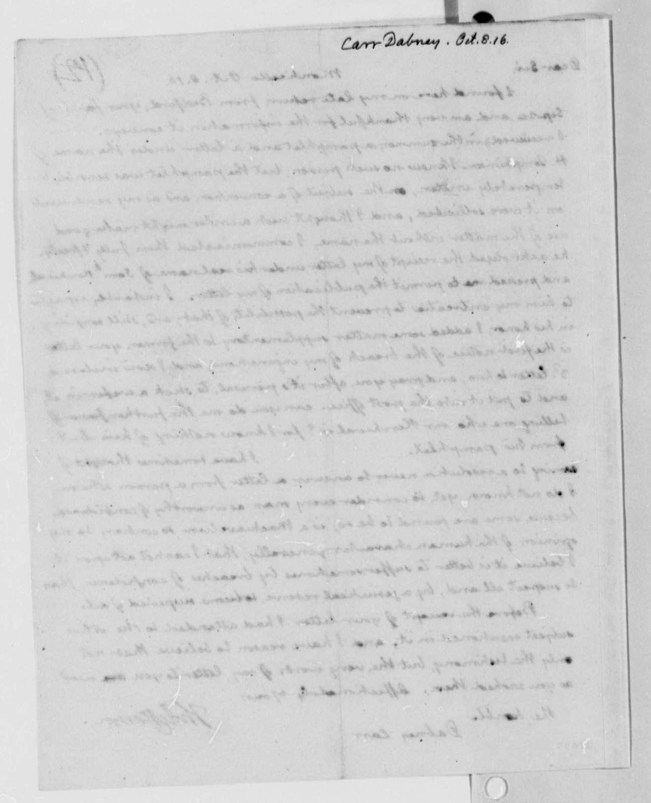Thomas Jefferson to Dabney Carr, October 8, 1816
