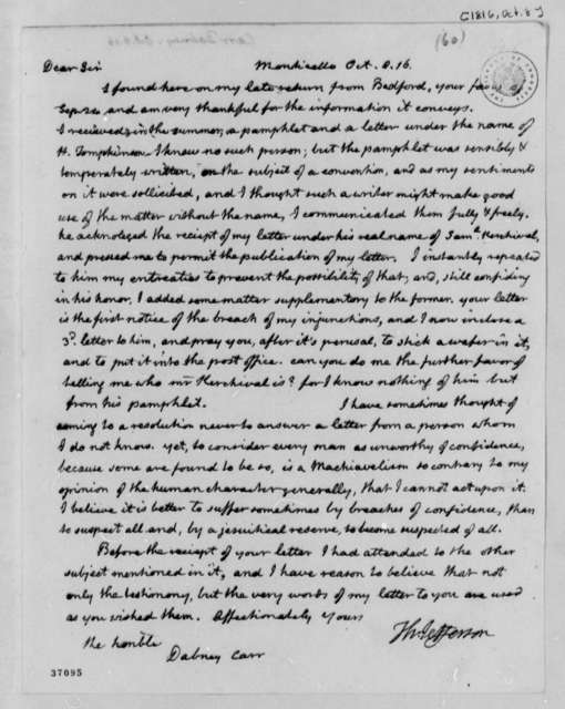 Thomas Jefferson to Dabney Carr, October 8, 1816