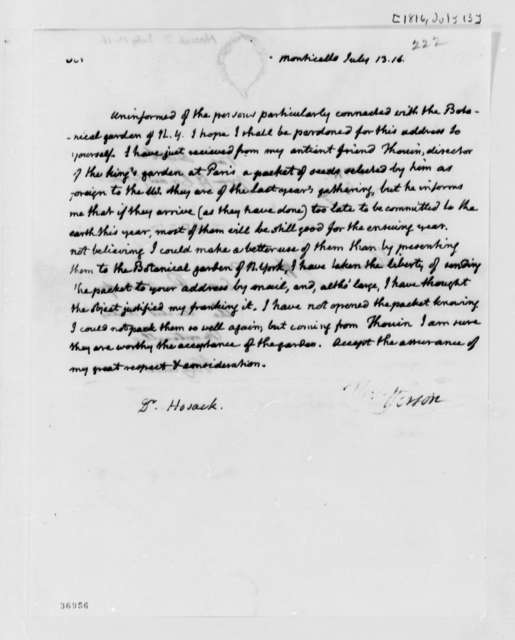 Thomas Jefferson to David Hosack, July 13, 1816