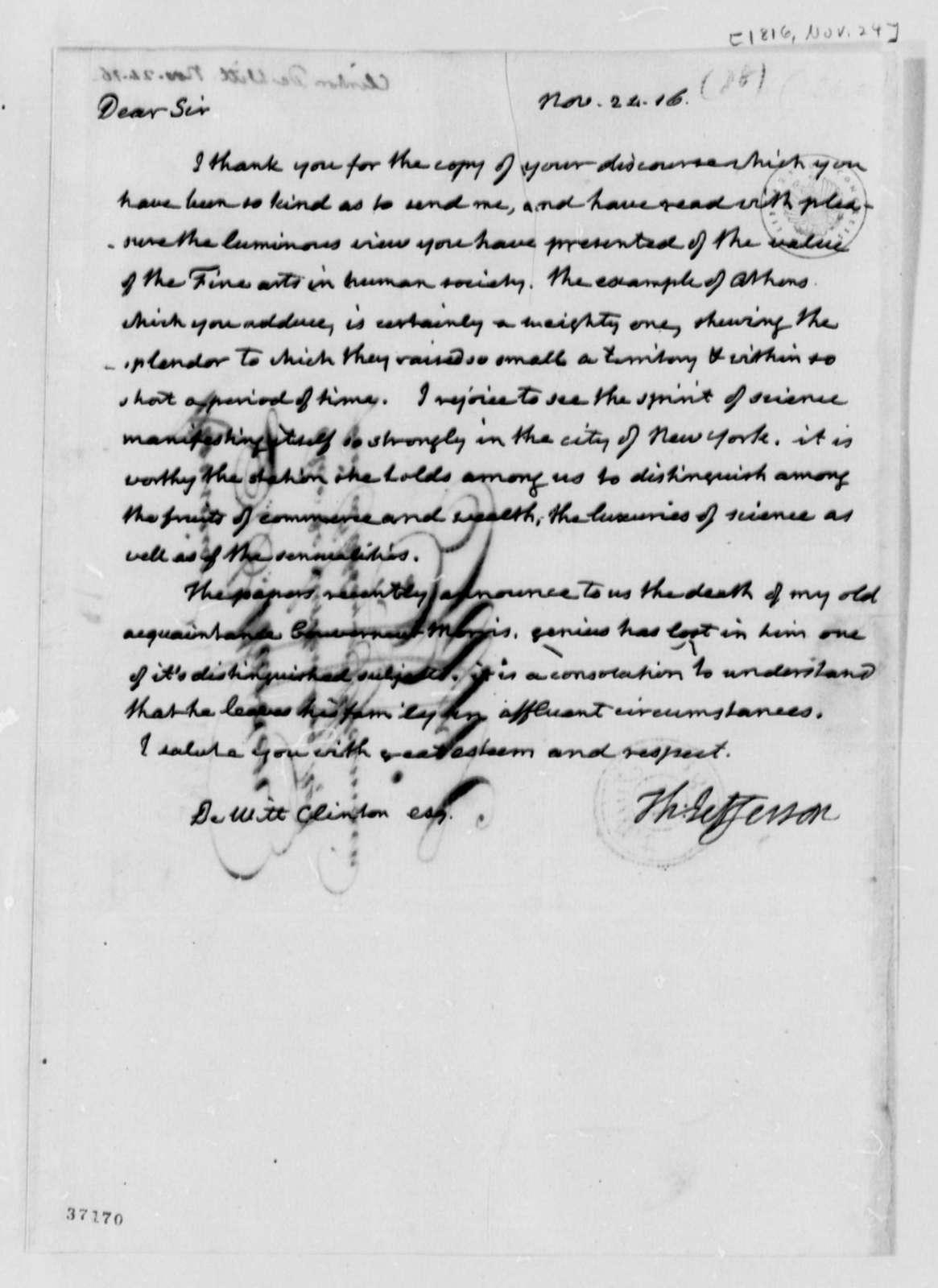 Thomas Jefferson to Dewitt Clinton, November 24, 1816